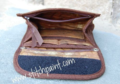 Mini Wallet Inside | Brown Crackle Fabric | Stitchpaint