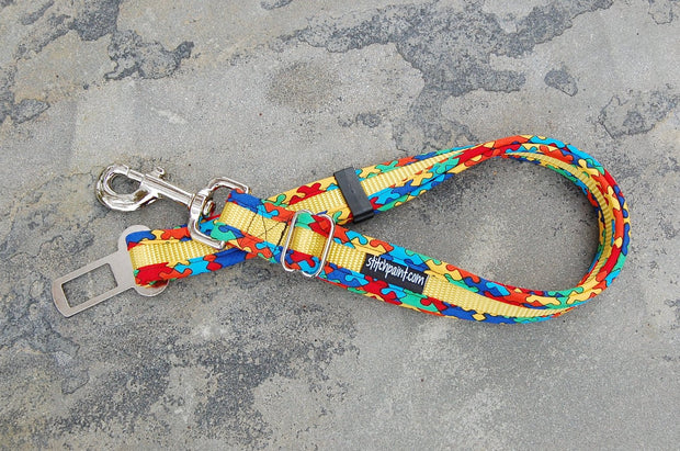 Dog Seatbelt Leash | Puzzling Yellow | Stitchpet