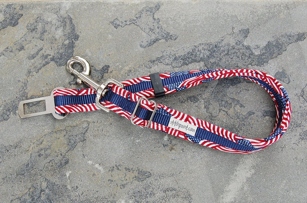 American Flag Dog Seatbelt Leash | Pet Safety Restraint for Car