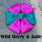 Wild Berry & Jade Dog Bow | Stitchpet