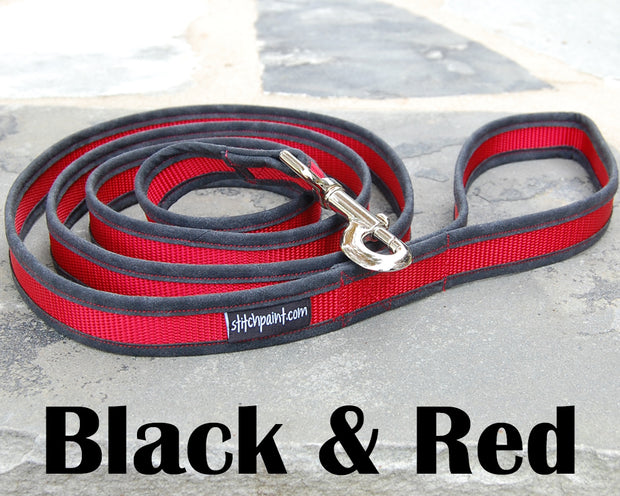 Comfortable Black & Red Dog Leash | Stitchpet