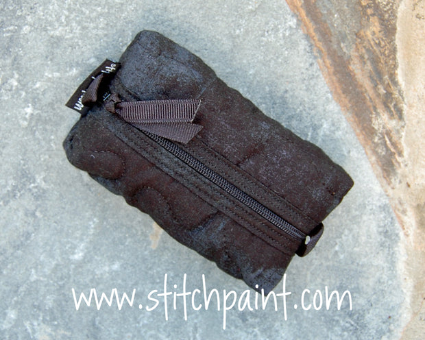 Zip Pocket Tissue Case | Black Grunge Fabric | Stitchpaint