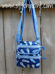 Crossbody Bag | Stitchpaint | Blue Flip Flop Fabric