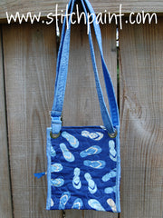Crossbody Bag Back | Stitchpaint | Blue Flip Flop Fabric