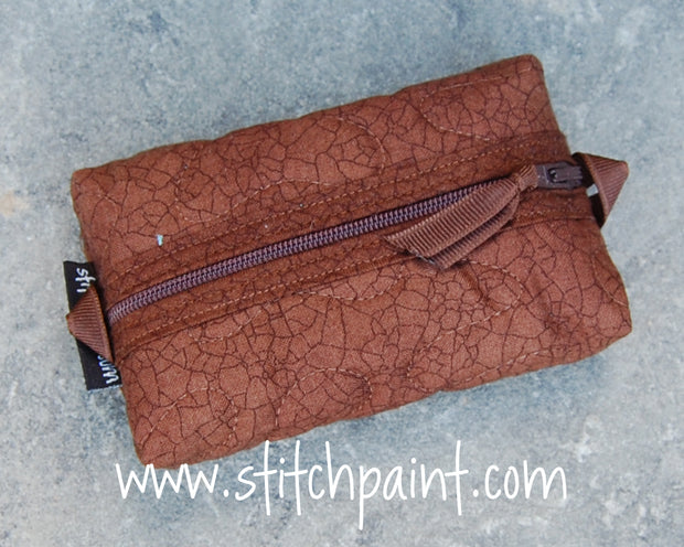 Zip Pocket Tissue Case | Brown Crackle Fabric | Stitchpaint