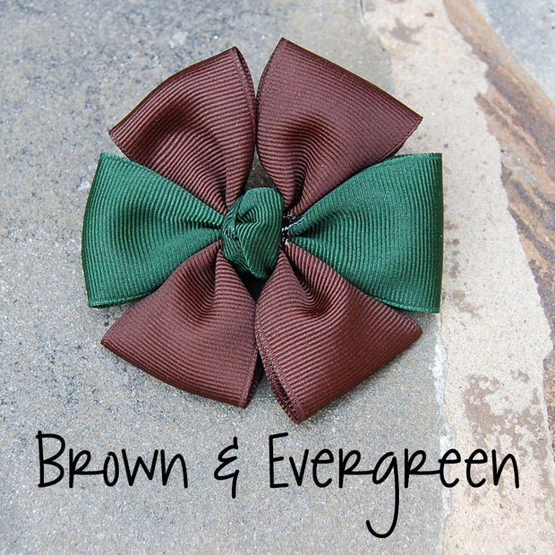 Boutique Dog Bow | Brown & Evergreen | Stitchpet
