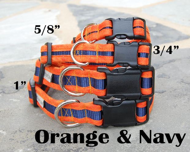 Orange & Navy Dog Collar | Stitchpet