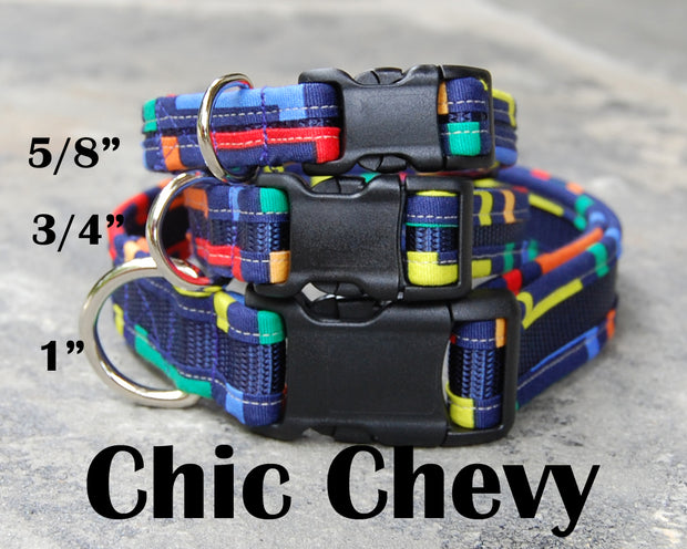 Cool Dog Collar | Chic Chevy Navy Dog Collar | Stitchpet