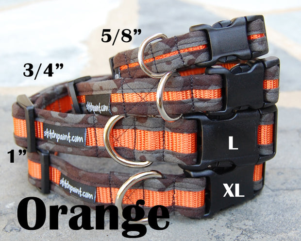 Orange & Black Dog Collar | Stitchpet