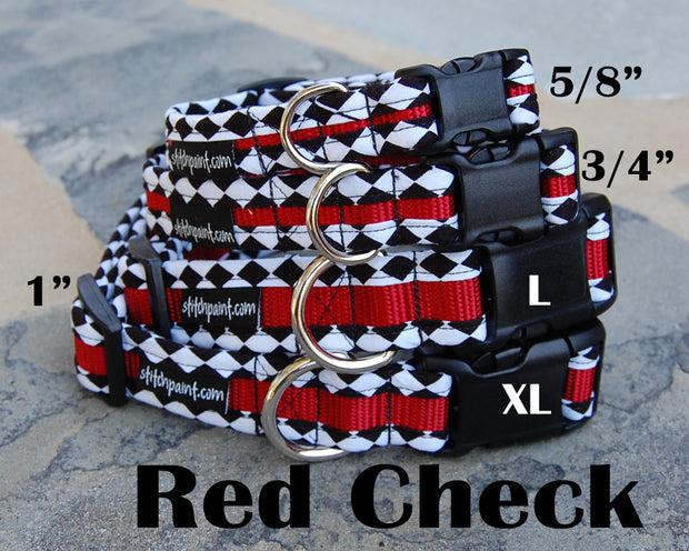 Black & White Check on Red Dog Collar | Stitchpet