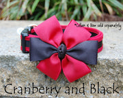 Comfortable Dog Collar shown with optional bow | Cranberry & Black | Stitchpet