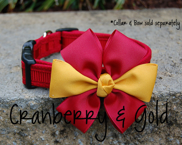 Comfortable Dog Collar shown with optional bow | Red on Red | Stitchpet