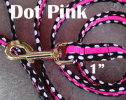 Dot Pink Dog Leash 1"