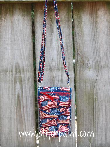 Mini Crossbody Phone Bag | American Flag Fabric | Stitchpaint