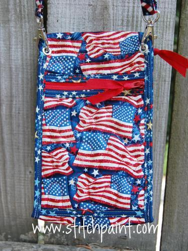 Mini Crossbody Phone Bag Back | American Flag Fabric | Stitchpaint
