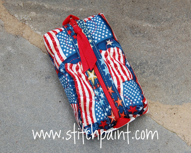 Zip Pocket Tissue Case | American Flag Fabric | Stitchpaint