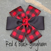 Boutique Dog Bows | Red Black Gingham | Stitchpet