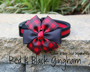 Comfortable Dog Collar shown with optional bow | Black & Red | Stitchpet