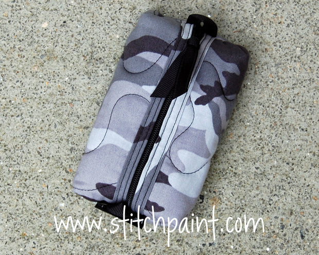 Zip Pocket Tissue Case | Grey Camo Fabric | Stitchpaint
