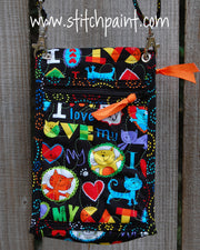Mini Crossbody Phone Bag Back | Cat Love | Stitchpaint