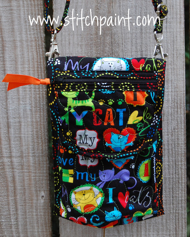 Mini Crossbody Phone Bag Front | Cat Love | Stitchpaint