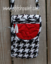Mini Crossbody Phone Bag Front | Houndstooth | Stitchpaint