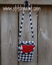 Mini Crossbody Phone Bag | Houndstooth | Stitchpaint