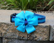 Comfortable Dog Collar shown with optional bow | Ice Blue | Stitchpet
