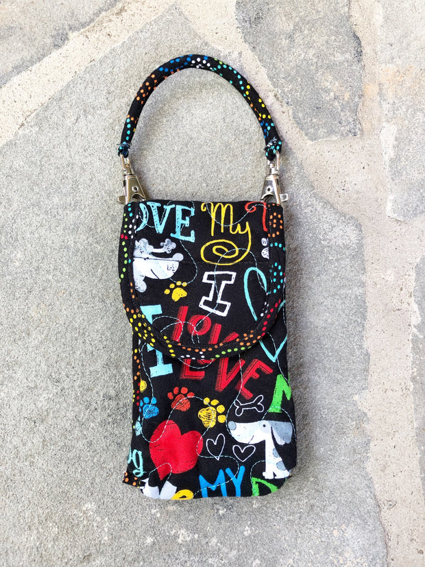 Phone Pouch | Cell Phone Case with Strap | Stitchpaint | Dog Love