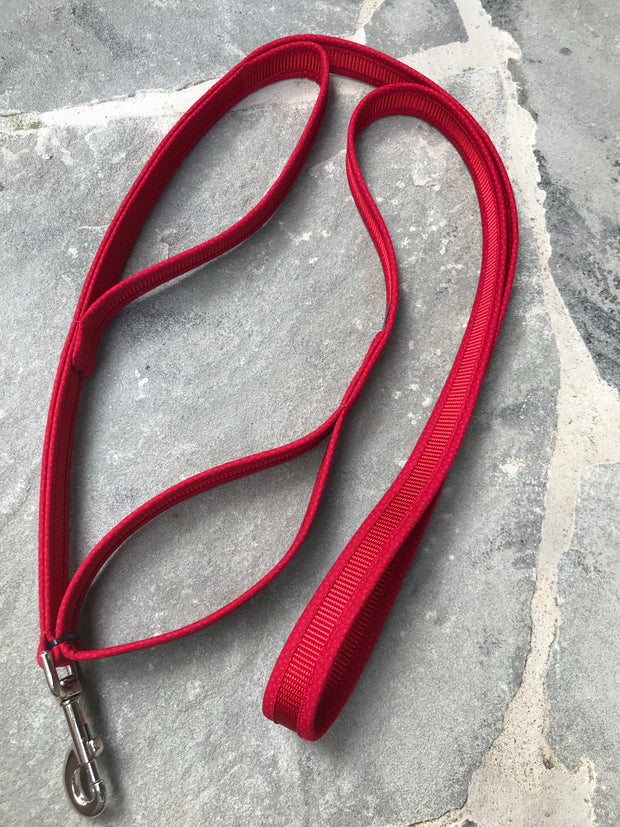 Double Handle Dog Leash | Red on Red | Stitchpet