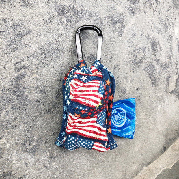 Poo Bag Pouch | American Flag Fabric | Stitchpet