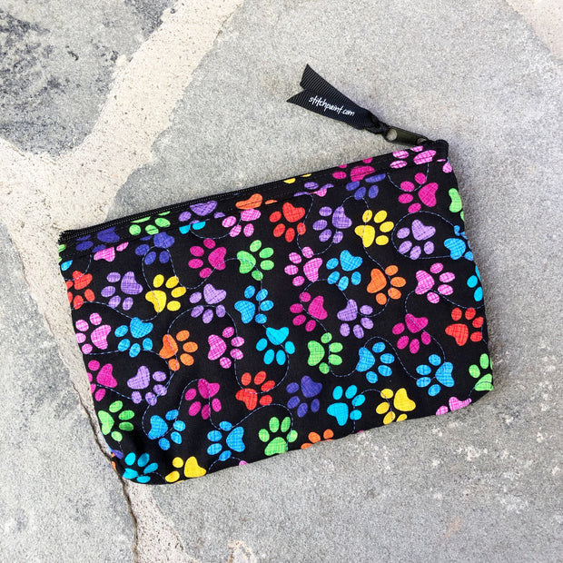 Small Zipper Pouch | Quilted Fabric Zipper Case | Stitchpaint | Paws