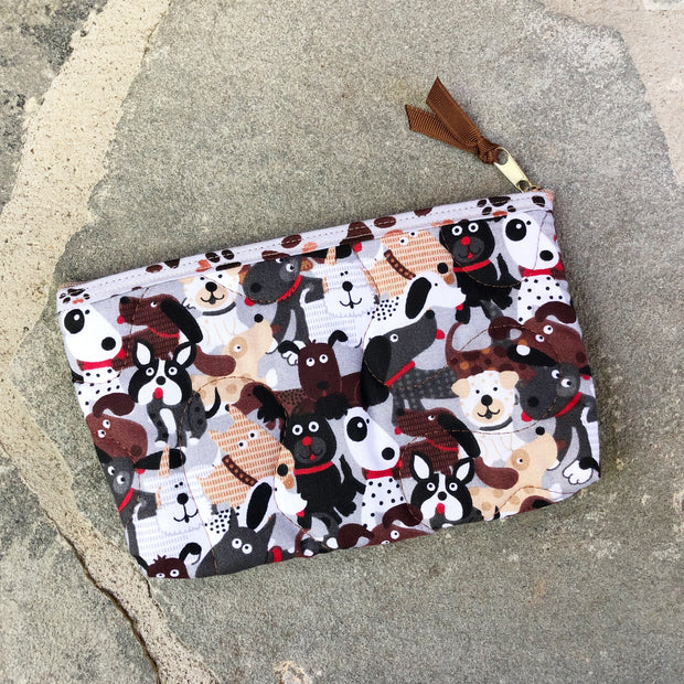 Small Zipper Pouch | Quilted Fabric Zipper Case | Stitchpaint | Dog Park