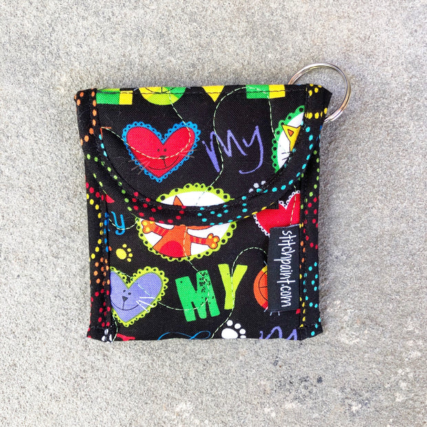 Credit Card Fob | Keychain Card Wallet | Stitchpaint | Cat Love