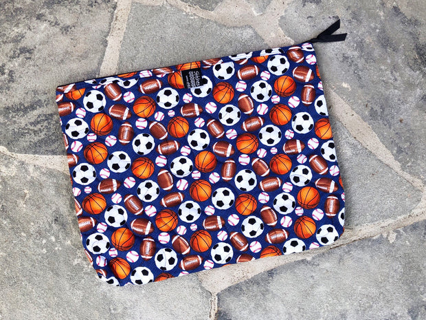 Large Zipper Pouch | Large Fabric Zipper Case | Stitchpaint | Sporty