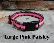 Large Boutique Dog Collars | Pink Paisley