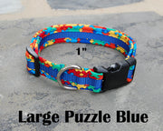 Large Boutique Dog Collar | Puzzle Autism | Stitchpet