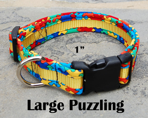 Large Puzzle Dog Collar | Autism Awareness | Stitchpet