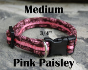 Medium Boutique Dog Collars | Pink Paisley