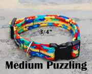 Medium Puzzle Dog Collar | Autism Awareness | Stitchpet