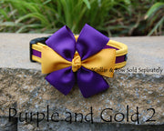 Comfortable Dog Collar shown with optional bow | Gold & Purple | Stitchpet