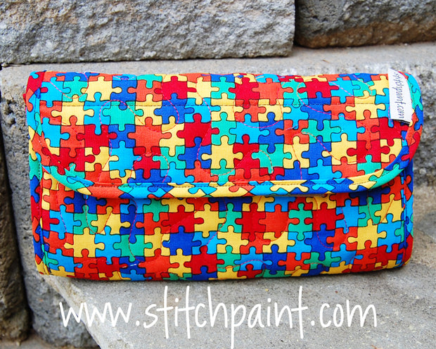 Clutch Wallet | Puzzling Fabric | Autism Awareness