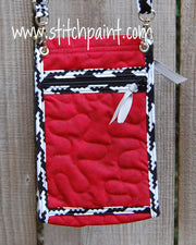 Mini Crossbody Phone Bag Back | Red Houndstooth | Stitchpaint