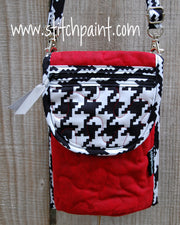 Mini Crossbody Phone Bag Front | Red Houndstooth | Stitchpaint