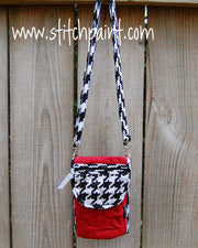 Mini Crossbody Phone Bag | Red Houndstooth | Stitchpaint