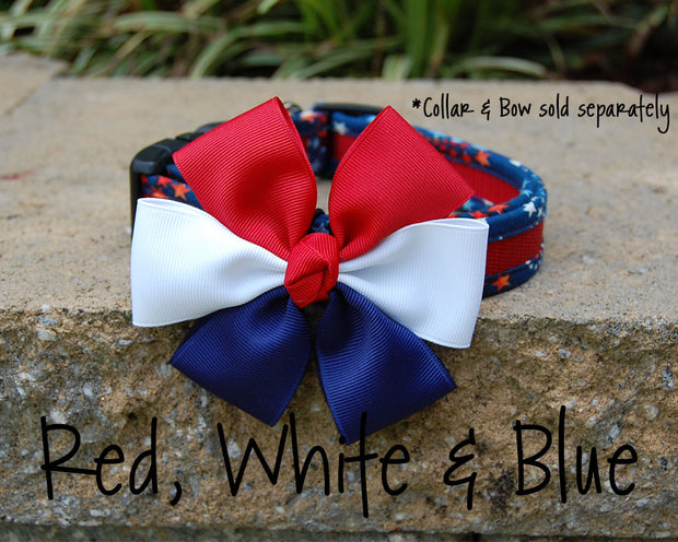 Comfortable Dog Collar shown with Optional Bow | Stars Red | Stitchpet