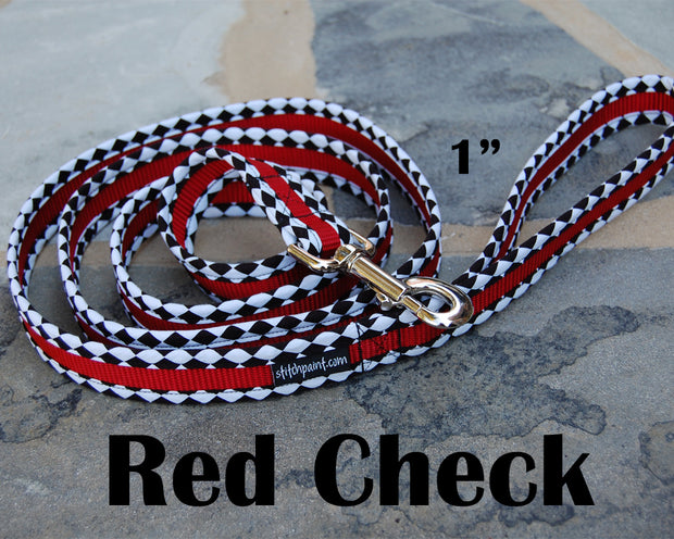Red B & W Check Dog Leash 1"