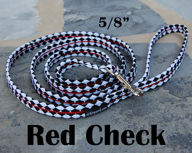 Red B & W Check Dog Leash 5/8"