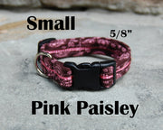 Small Boutique Dog Collars | Pink Paisley