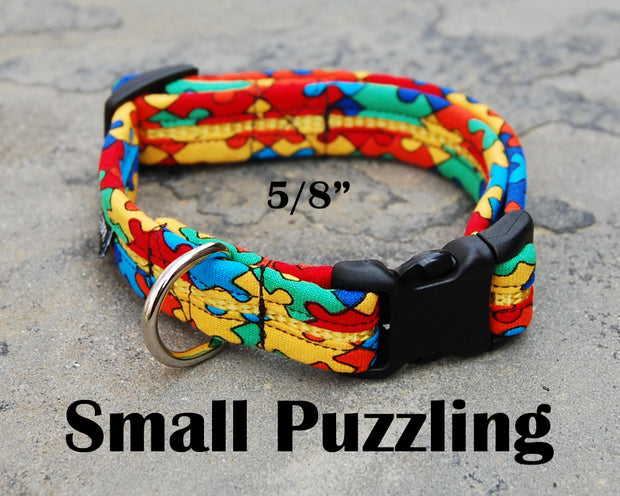 Small Puzzle Dog Collar | Autism Awareness | Stitchpet
